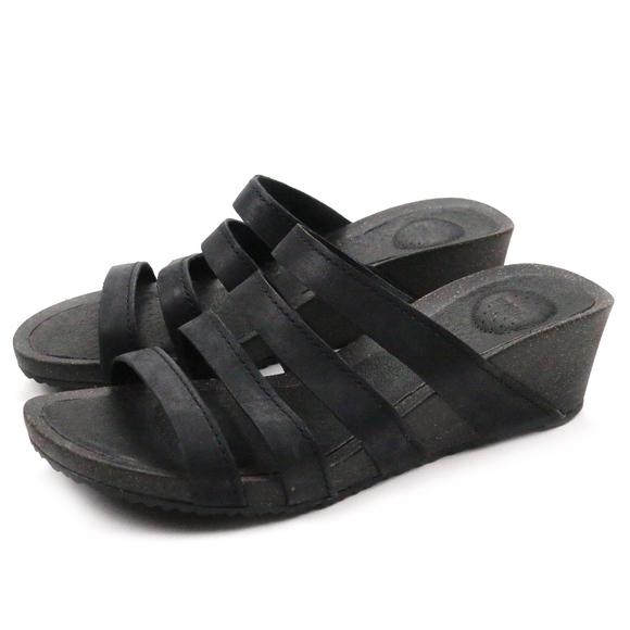316bef77b178d8 Teva Ysidro Slide Wedge Black Leather Heels